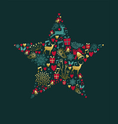 Christmas and new year star decoration card vector