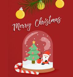Christmas santa claus snow globe greeting card vector