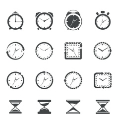 Clock icon black set vector image