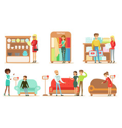 Collection people shopping for furniture vector