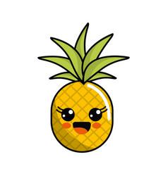 Color kawaii happy pineapple icon vector