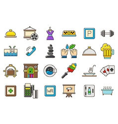 Colorful life icons set vector