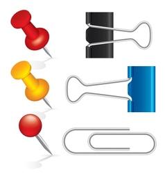 Colorful pushpin paper clip binder clip icon set vector image