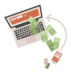 concept worldwide money transfer sending green vector image