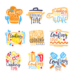cooking time logo design set colorful hand vector image