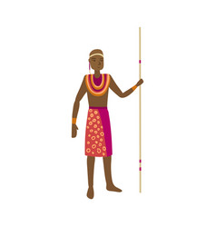 Cute african aborigine with colorful red clothes vector