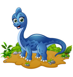 cute blue dinosaur cartoon vector image