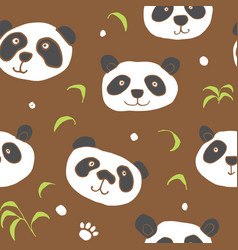 cute panda bear seamless pattern cute animals vector image