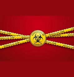 Danger tape quarantine zone and biohazard sign vector