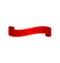 Decorative red curved ribbon isolated icon vector