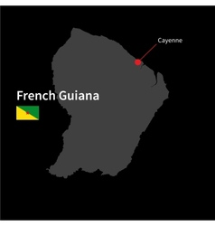 Detailed map of French Guiana and capital city vector