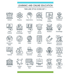 Education icons line set 01 vector