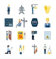 Electricity Repairmen Icons Set vector
