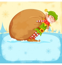 Elf dragging sack full of Christmas gifts vector
