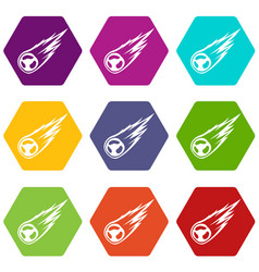 Falling meteor with long tail icon set color vector