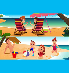 family having fun on the beach vector image