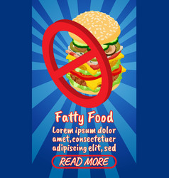 fatty food concept banner comics isometric style vector image