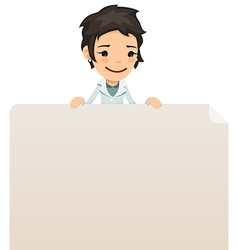 female doctor looking at blank poster on top vector image