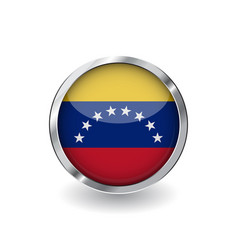Flag of venezuela button with metal frame and vector