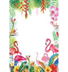 Frame from tropical flowers and flamingoes vector