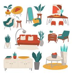 Furniture for home interior decoration sofa vector