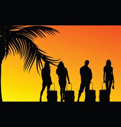 girl and man with travel bag vector image