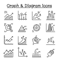 Graph diagram chart icons set in thin line style vector
