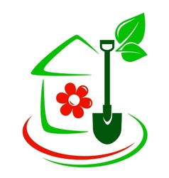 green garden icon with house flower and shovel vector image