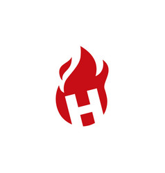 h letter fire flame logo icon vector image