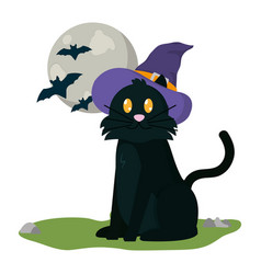 halloween cat with hat vector image