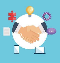 Handshake business with teamwork icons vector
