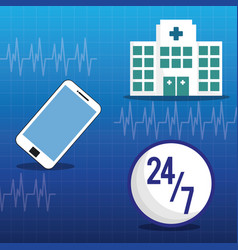 Hospital medical service online 24-7 vector