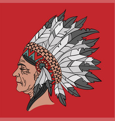 Indian woman american native portrait illus vector