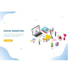Isometric digital marketing concept for website vector