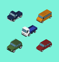 isometric transport set of suv lorry armored and vector image