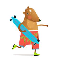 kids bear animal skating with longboard fun design vector image