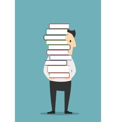 Man is carrying a tall pile of books vector