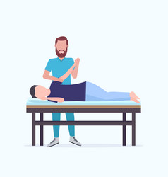 man patient lying on massage table masseur vector image