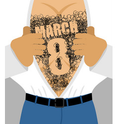 march 8 male hairy torso takes off his shirt vector image