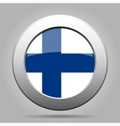 Metal button with flag of finland vector