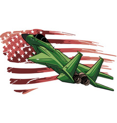military fighter jets with american flag vector image