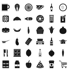 Official dinner icons set simple style vector