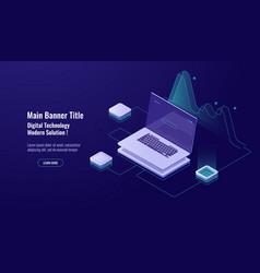 Online analytics big data processing laptop vector