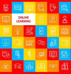 online learning line icons vector image