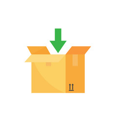 open box and arrow down add to package box vector image