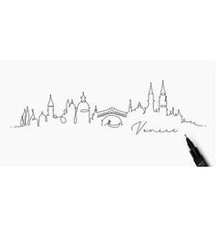 Pen line silhouette venice vector