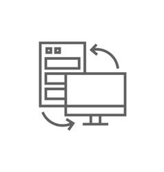 Personal computer set line icon vector image
