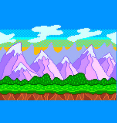 Pixel art mountains seamless background detailed vector