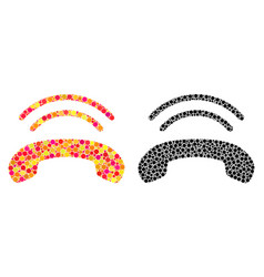Pixel phone ring mosaic icons vector