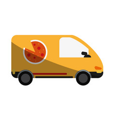 Pizza car flat shadow vector